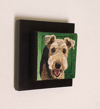 Handpainted Airedale Terrier Dog portrait