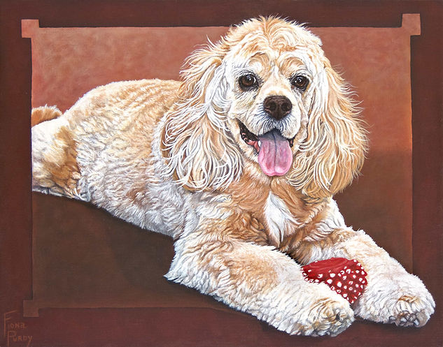 A portrait of Aloha, a golden Cocker spaniel in acrylic on canvas. To have a custom fine art dog portrait painted of your cherished pooch contact Fiona Purdy painter of dog portraits.