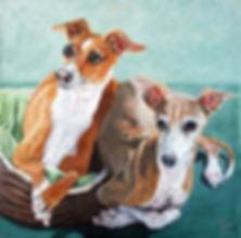 Custom painted dog portrait Italian Greyhounds