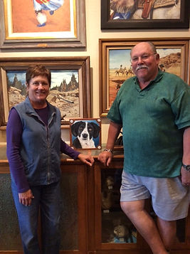 Pet painting clients with hound dog portrait