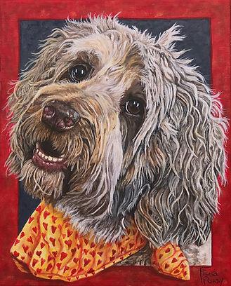 Painted Pet Portrait of Bailey a Golden Dooodle