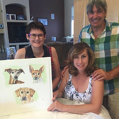 Pet portrait artist Fiona Purdy and clients
