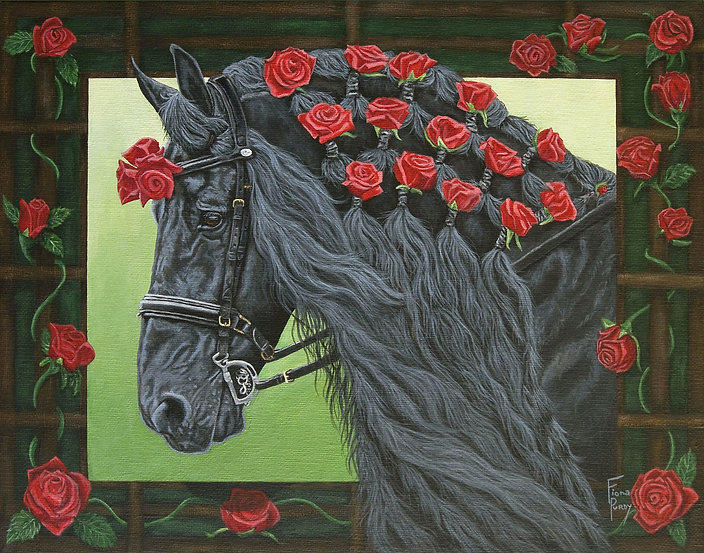 Acrylic on canvas hand painted portrait of Sir Ruben, painted by Fiona Purdy, a professional horse portrait artist.