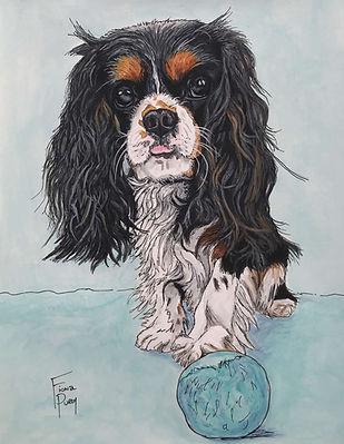 Hand painted pet portrait of a female Cavalier King Charles Spaniel puppy.