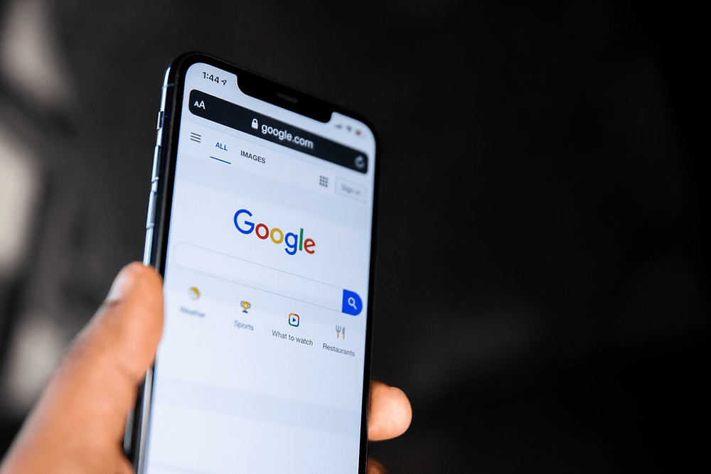 A phone with the Google search engine pulled up.