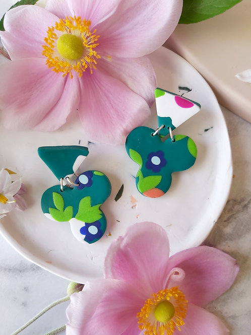 Flower Power Green Shamrock Designer Dangles - Polymer Clay