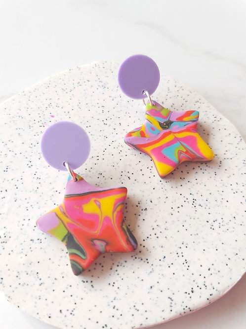 Time is an Illusion small star Designer Dangles - Polymer Clay