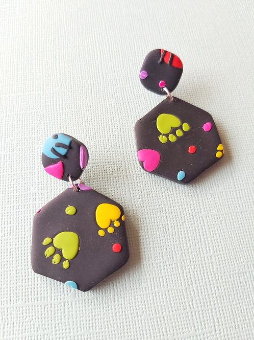 Kitty Whiskers Hexagon Designer Dangles -  Polymer Clay