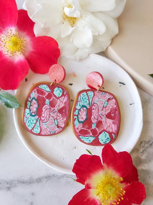 Raspberry Ripple Organic Mega Designer Dangles - Polymer Clay