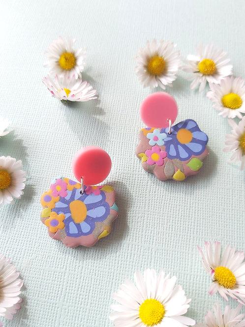 Garden Party Neutral Lorelei Designer Dangles - Polymer Clay