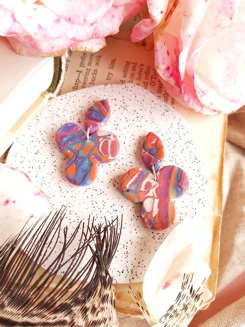 Venetian Paper Shop Blue Shamrock Designer Dangles - Polymer Clay