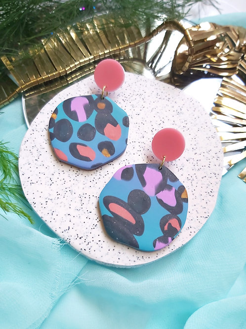 Spirit Animal Blue Leopard Mega Gaia Designer Dangles - Polymer Clay