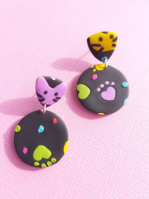 Kitty Whiskers Paws Small Round Yellow Designer Dangles - Polymer