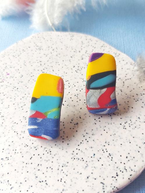 Birdy Bop rectangle studs - Polymer Clay