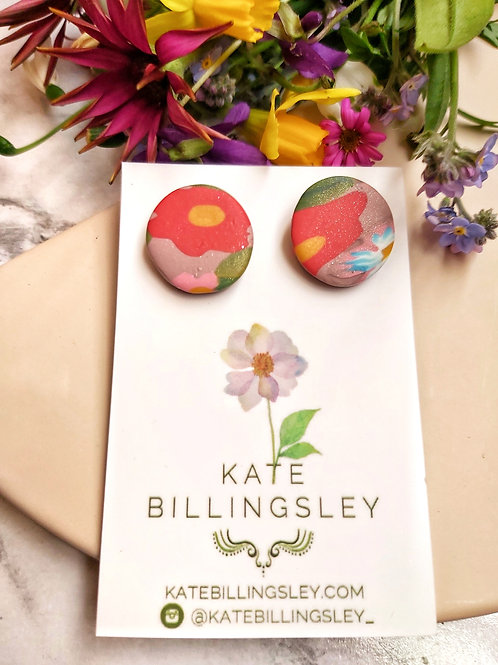 Red Floral Circle Studs - Polymer Clay