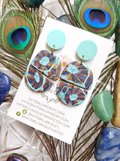 Mint Anemone Designer Dangles -  Polymer Clay