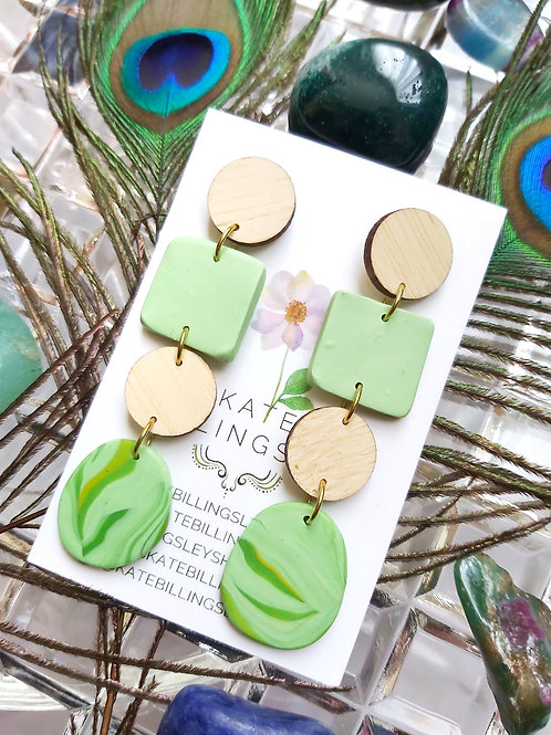 Long Spring Green Marble Bamboo Wood Designer Dangles -  Polymer Clay