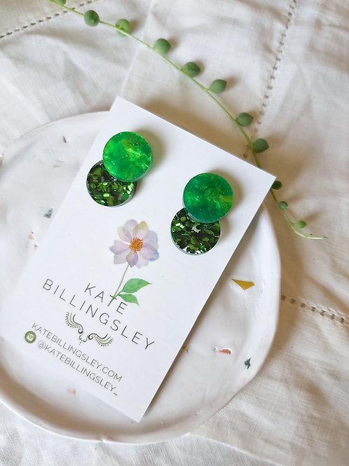 Venn Drop Studs - Grass Green Pearl over Green Hexie Glitter