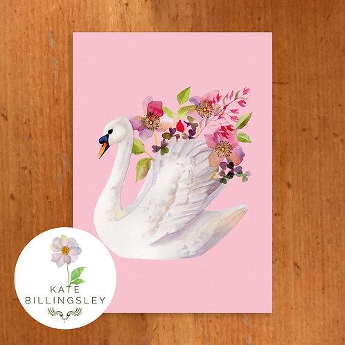 Pink Swan Vase Greeting Card