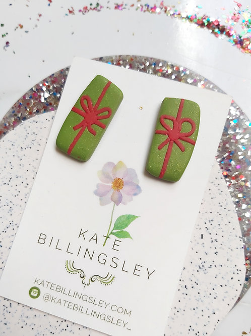 Green Christmas Present imperfect rectangle studs - Polymer Clay