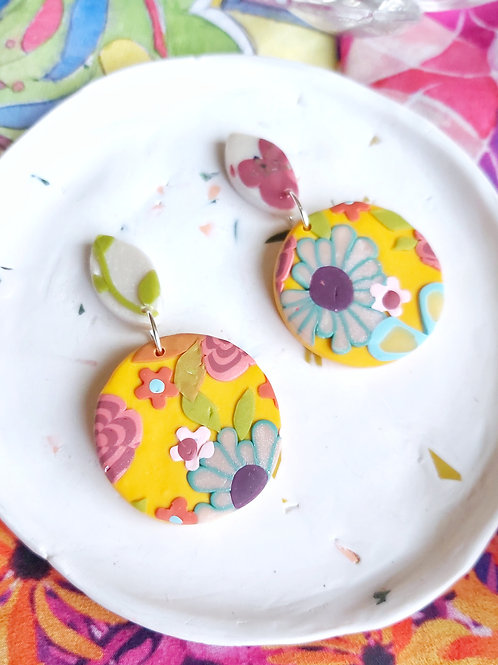 Tehran Small Round Yellow Designer Dangles - Polymer