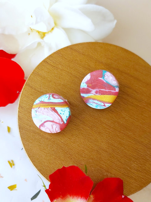 Raspberry Ripple circle studs - Polymer Clay