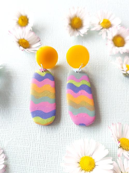 Garden Party Streamers Penelope Designer Dangles -  Polymer Clay