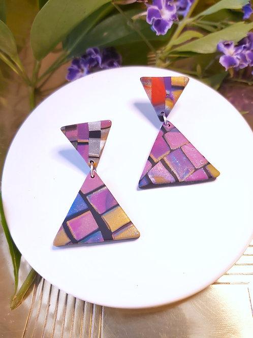 Electric Alligator Small Triangle Designer Dangles - Polymer Clay