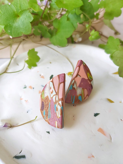 Egyptian Revival semicircle collage studs - Polymer Clay
