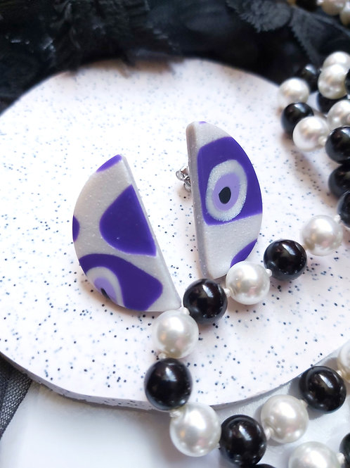 Pick Your Poison Evil Eye semicircle studs - Polymer Clay