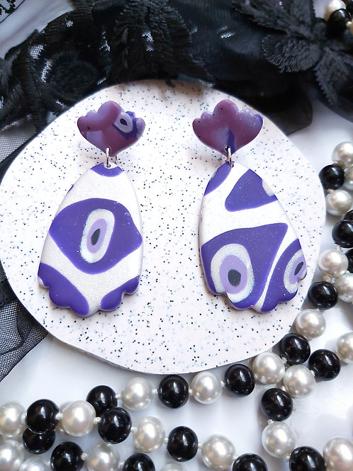 Pick Your Poison Mega Gossamer Evil Eye Designer Dangles - Polymer Clay