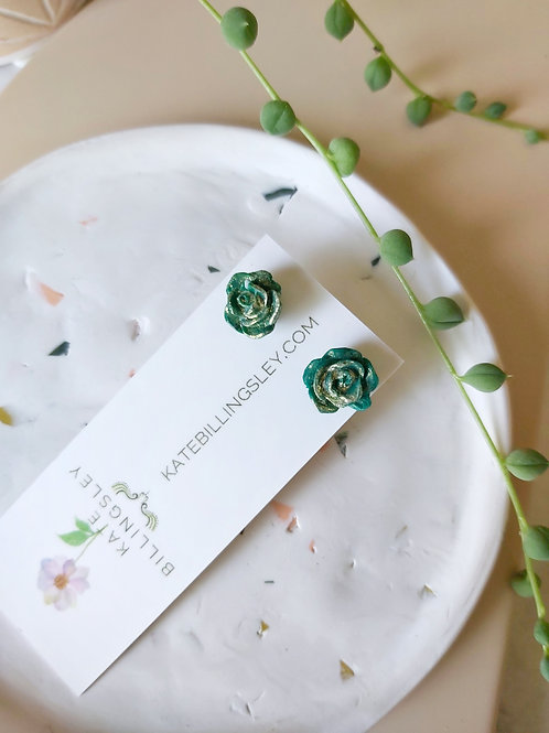 Mini Studs - Green Roses dipped in Gold