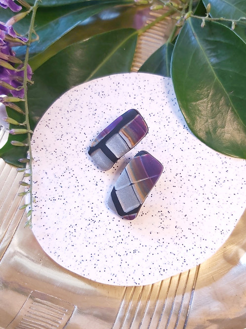 Electric Alligator rectangle studs - Polymer Clay