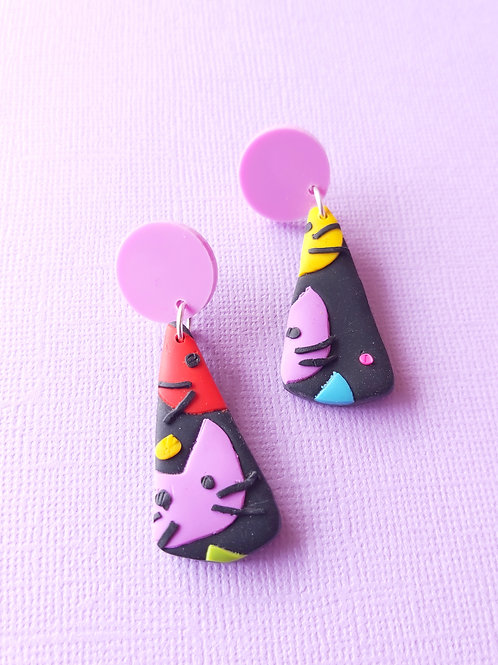 Kitty Whiskers Cats Isolde Designer Dangles - Polymer Clay