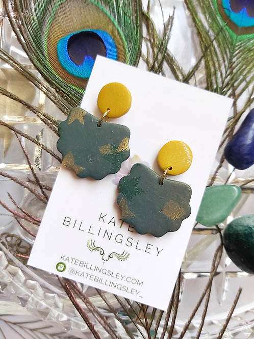 Forest Green & Mustard Lorelei Designer Dangles - Polymer Clay