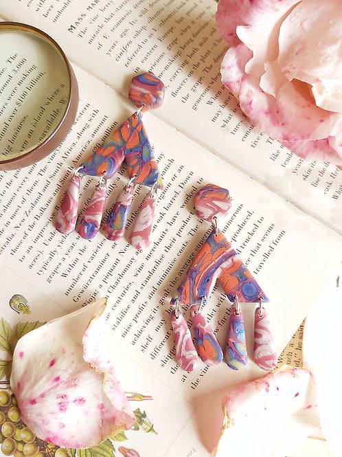 Venetian Paper Shop Blue Mega Zenobia Designer Dangles - Polymer Clay