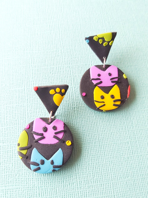 Kitty Whiskers Cat Small Round Yellow Designer Dangles - Polymer