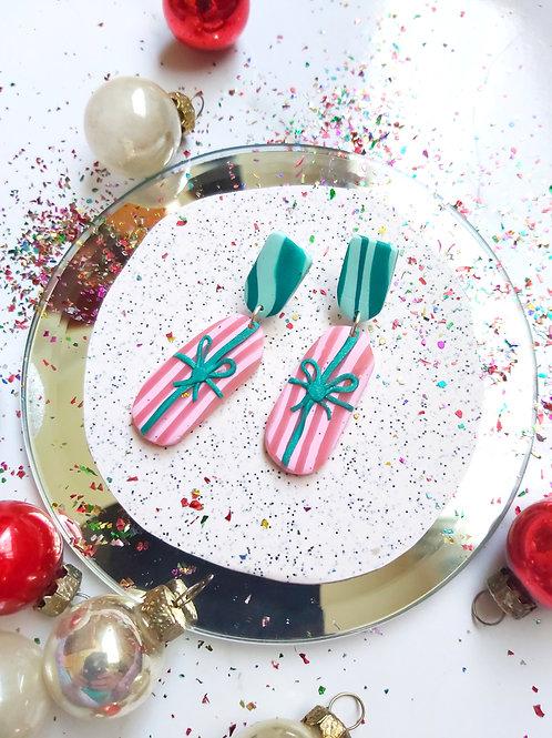 Pink Gift Medium Dangles - Polymer Clay