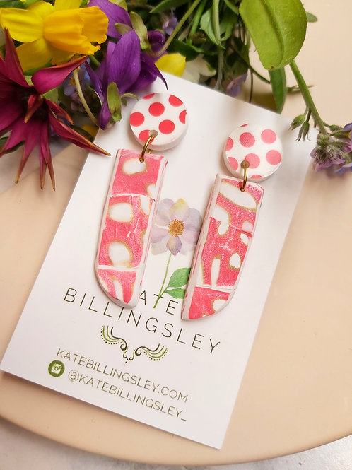 Spotted Red and White Designer Dangles - Polymer Clay