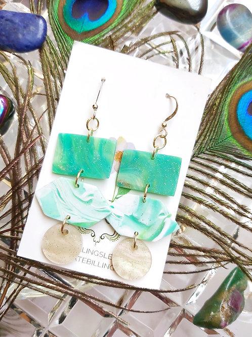 Green Geometric Marble Designer Dangles -  Polymer Clay