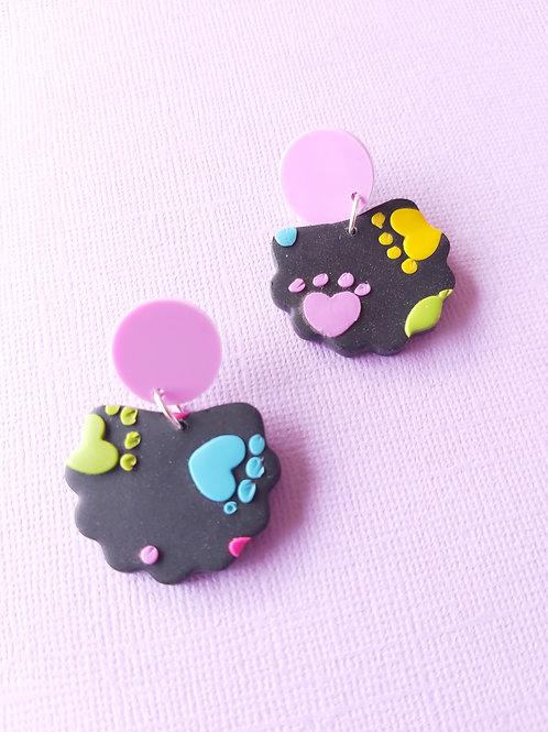 Kitty Whiskers Paws Lorelei Designer Dangles - Polymer Clay