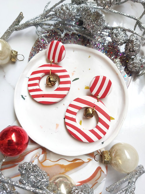 Round Candy Cane Cutout Bell Dangles - Polymer Clay