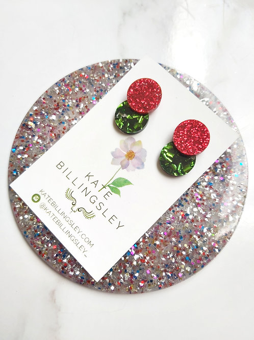 Venn Drop Studs - Red Glitter over Green Hexie Glitter