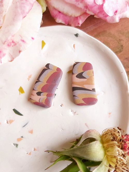 Venetian Paper Shop Fawn rectangle studs - Polymer Clay