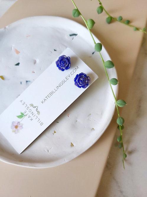 Mini Studs - Ultramarine Blue Roses dipped in Gold