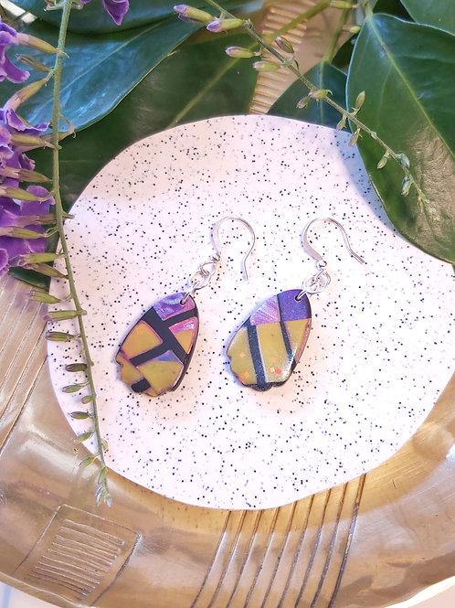 Electric Alligator Petal Petite Hook Dangles - Polymer Clay
