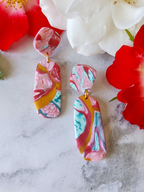 Raspberry Ripple Penelope Designer Dangles -  Polymer Clay