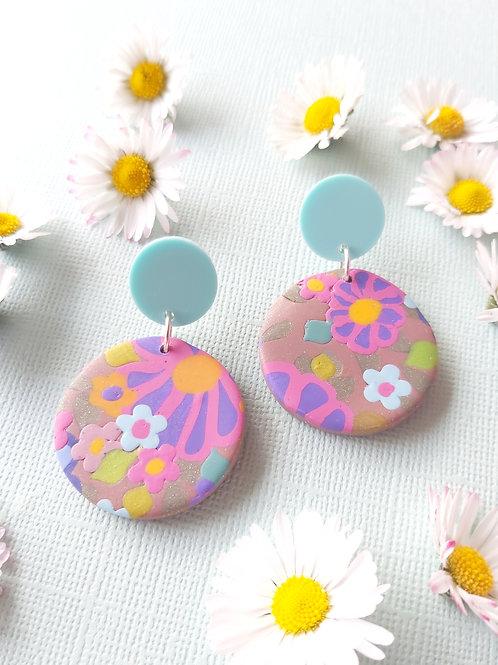 Garden Party Neutral Small Round Designer Dangles - Polymer