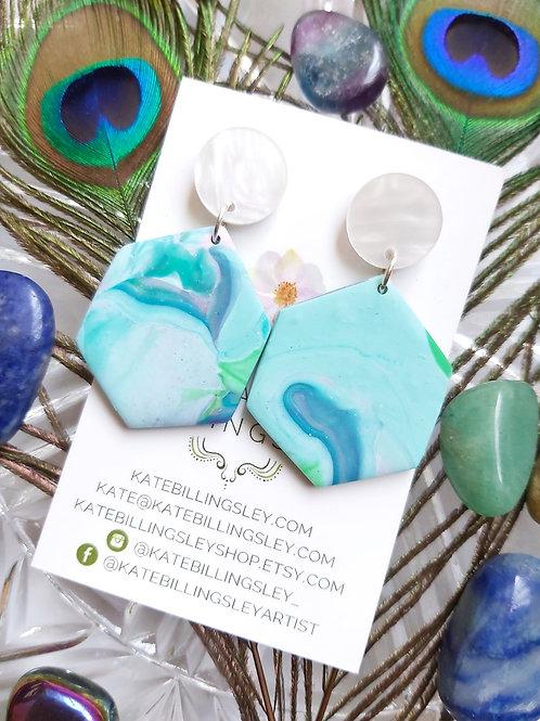 Marbled Aqua Hexagon Designer Dangles -  Polymer Clay