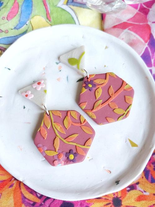 Tehran Berry Hexagon Designer Dangles -  Polymer Clay